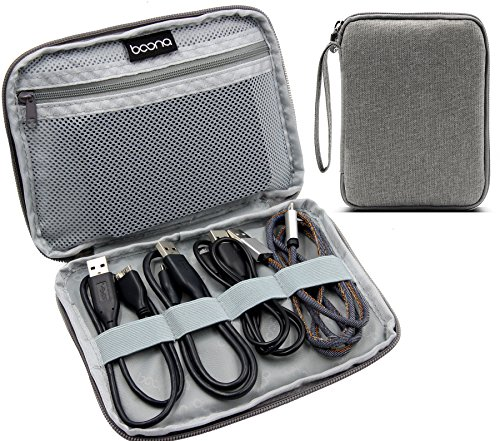 BAONA Data Wire Storage Organizer Electronics Accessories Cases with Wrist Straps for Various Cable, Earphone Wire, USB drive and Power bank -Grey by baona