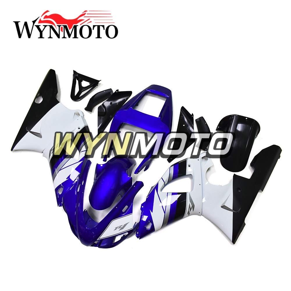 WYNMOTO オートバイ外装部品セット適応フィッ ABS プラスチックヤマハ YZF1000 R1 1998 1999 yzf r1 98 99最高の品質射出フェアリングキット白青車体   B07KSZH3LZ