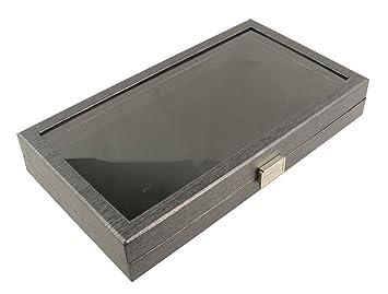 Bandeja expositora de tamaño completo con tapa de acrílico transparente y almohadilla de terciopelo negro BD8385