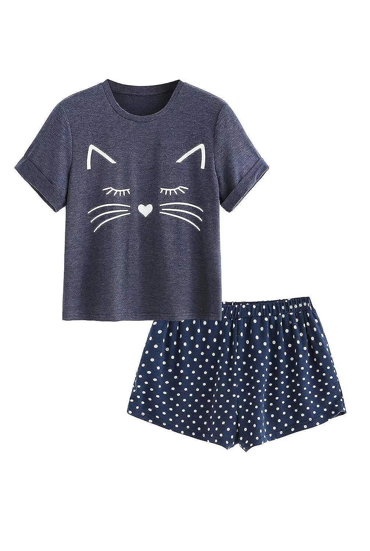 Big Girls Pajama Short Set Cotton Sleepwear Cute Cat Print Ruffles Short Sleeve Pjs 2 Pieces Loungewear Summer
