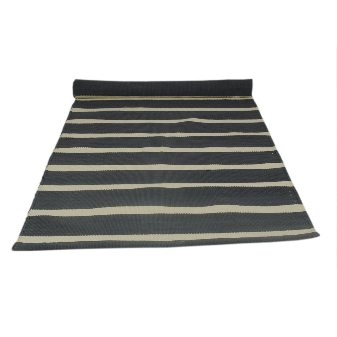 Organic cotton mat for Yoga Fitness and Meditation-Black/&White Striped Pilates
