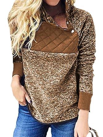 0e875e84b3f2 Litthing Sweat-Shirt Pull Manches Longues en Coton Femmes Automne Hiver Col  Oblique Noir Gris