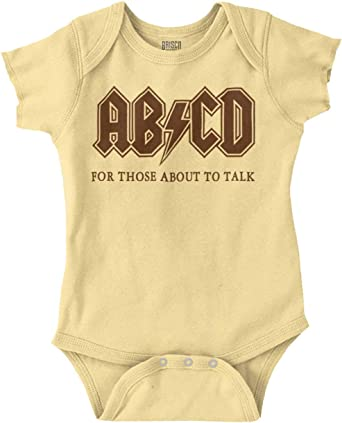 AB//CD Baby Onesie AC//DC For Those About To Talk Bodysuit Gerber Organic Cotton