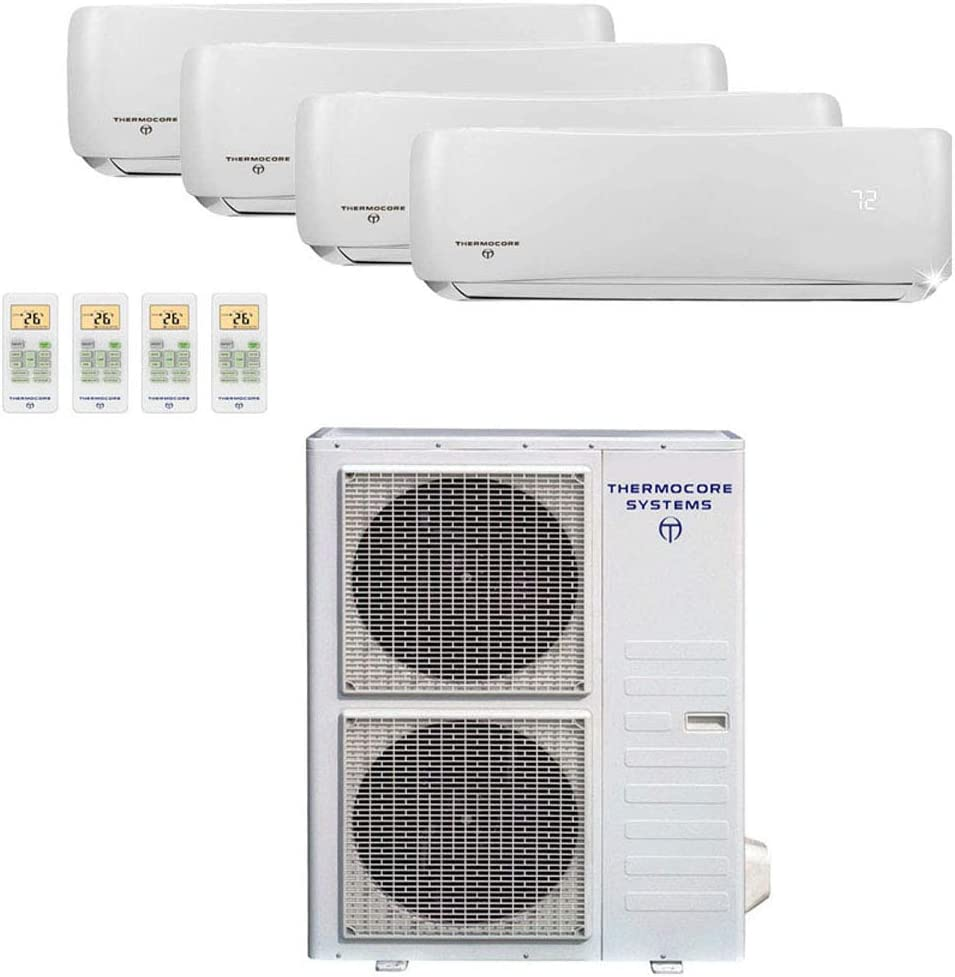 Thermocore T321Q-H263 12X3+24 Ductless Mini Split Air Conditioner Heat Pump, Large, White