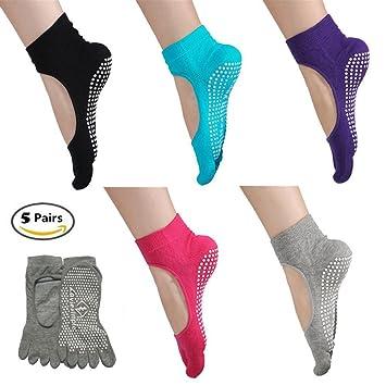 Switty 5 pares de calcetines antideslizantes para yoga, pilates, con empuñaduras para mujeres y