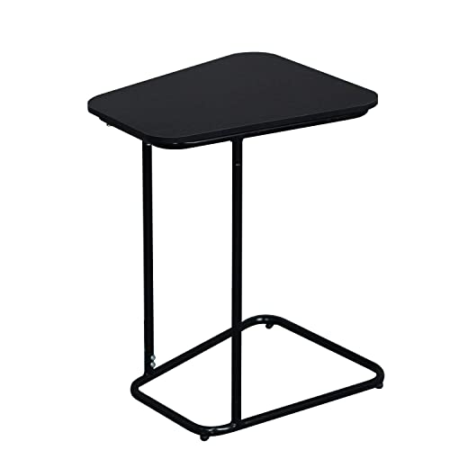 Soges Small End Table, Sofa Side Snack Table, Modern Coffee Table, Nightstand, Laptop Desk for Eating Reading, Ideal for Living Room, Dining Room, Bedroom, Black, ZS-CA1-BK