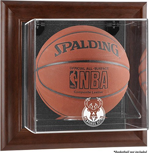 Browns Logo Display Case - Sports Memorabilia Milwaukee Bucks Brown Framed Wall-Mounted Team Logo Basketball Display Case - Basketball Logo Display Cases
