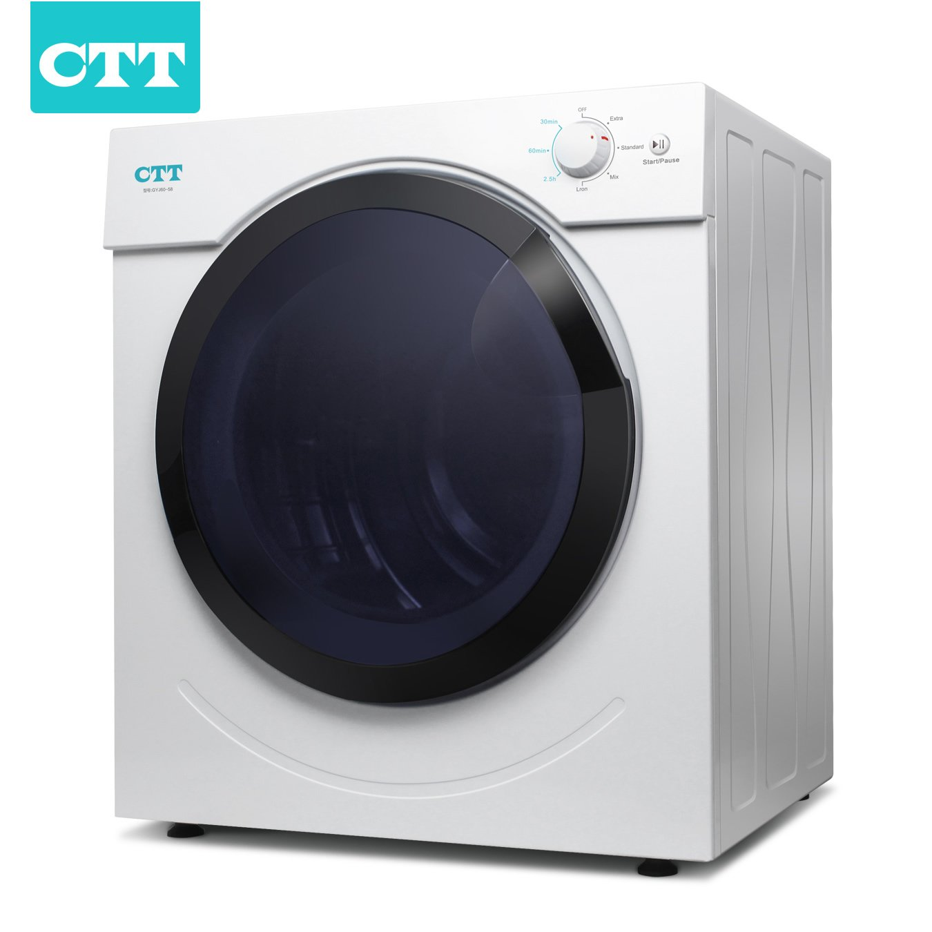 CTT Intelligent Compact Protable Tumble Clothes Dryer, Electric Tumble Vented Laundry Dryer, 12.5lb. Capacity/3.25 Cu.Ft. w/ Timer Control, Intelligent Drying Control Systerm, Humidity Tester