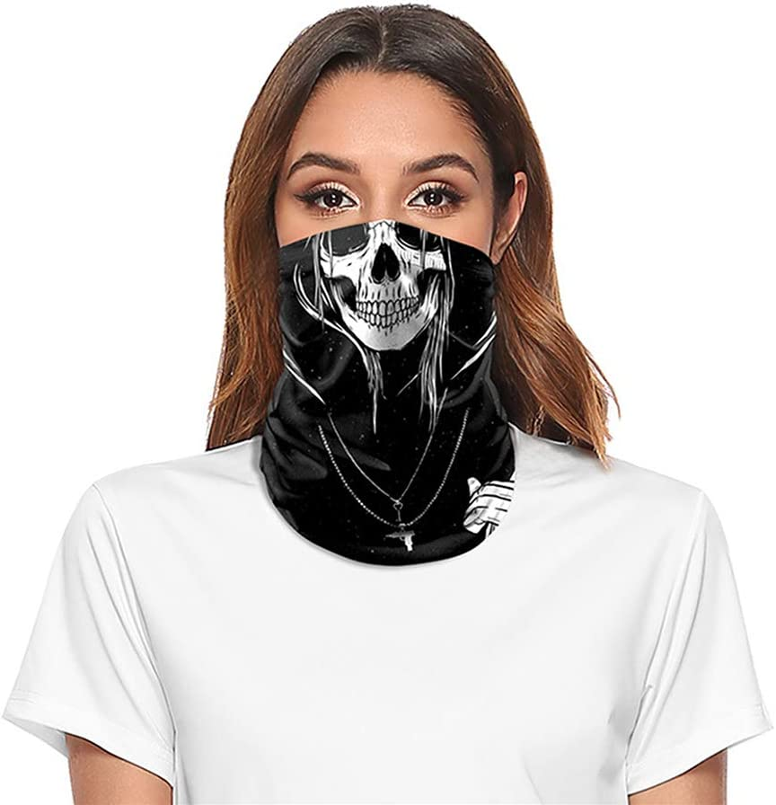 D/&XQX Outdoor Face Shield Headwear Biker Motorcycle Mask Windproof Anti-UV Clown Balaclava Seamless Neck Tube Scarf for Running Hiking,S1