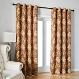 Cheap Kotile Grommet Top Blackout Curtains with Boho Paisley Pattern Design Print, 2 Panels Thermal Insulated Plant Leaves Fern Luxurious Soft Window Panels for Living Room (W52 X L84 Inches, Yellow)