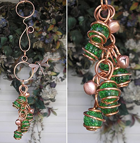 Dragonfly Wind Chimes Glass Copper Garden Art Lawn Ornament Windchime Green