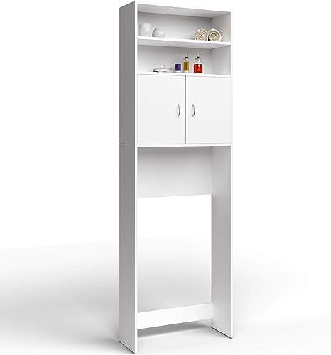 Meuble Etagere De Rangement Pour Salle De Bain Toilettes Armoire Blanc Avec Portes 195x63x20cm Amazon Fr Cuisine Maison