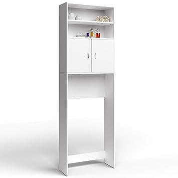 Meuble De Rangement Pour Toilette.Meuble Etagere De Rangement Pour Salle De Bain Toilettes Armoire Blanc Avec Portes 195x63x20cm