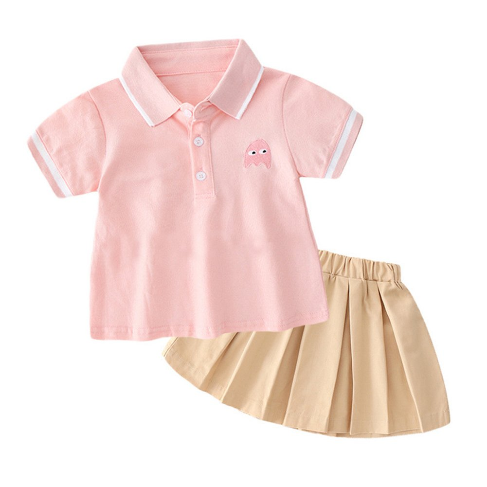 Fairy Baby Toddler Girls Summer School Uniform Dress Cosplay Costume Polo Shirt Skirt Set Size 1-2 Years (Pink)