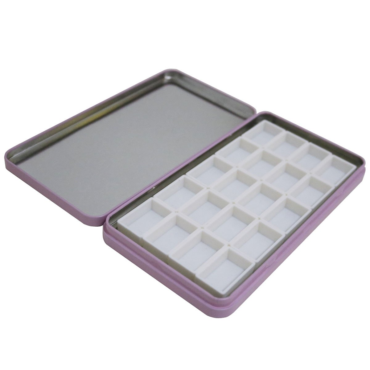FCLUB Watercolor Tins Palette Paint Case with 20Pcs Empty Full Pans and 20pcs Magnetic Squares DIY Your Travel Watercolor Kit