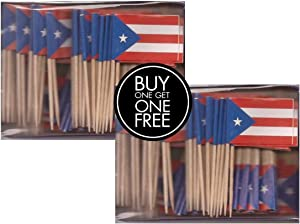 2 Boxes of Mini Puerto Rico Toothpick Flags, 200 Small Puerto Rican Flag Toothpicks or Cocktail Sticks & Picks