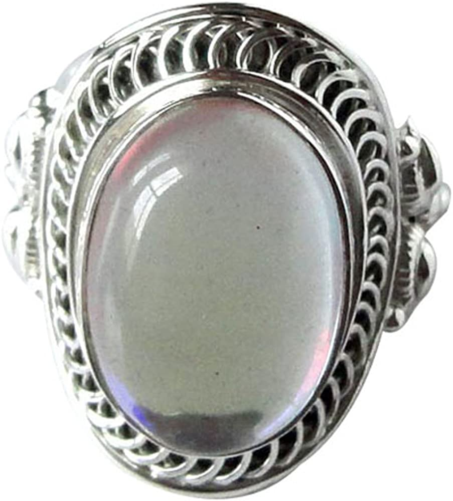 srgjewellers 925 Sterling Silver Ring US Size-8.25 Rainbow Quartz Gemstone Handmade Jewelry # 9164