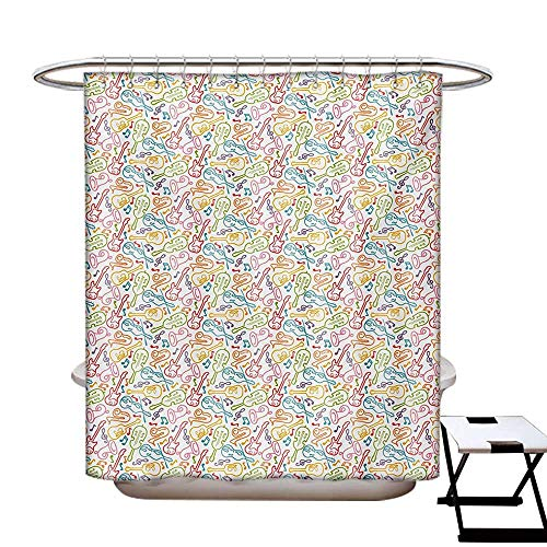 Music Shower Curtains with Shower Hooks Doodle Funky Guitar Violin Jazz Saxophone Acoustic Show Concert Symphony Concept Fabric Bathroom Set with Hooks W54 x L78 Multicolor