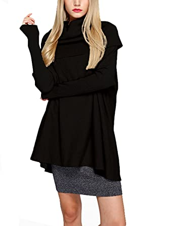 aa880456df Choies Women s Turtle Neck Batwing Rib Sleeve Cable Knit Sweater Pullover  Tunic XL