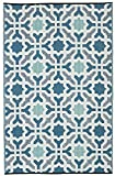 Fab Habitat Seville Indoor/Outdoor Recycled Plastic Rug, Multicolor Blue, (5′ x 8′)