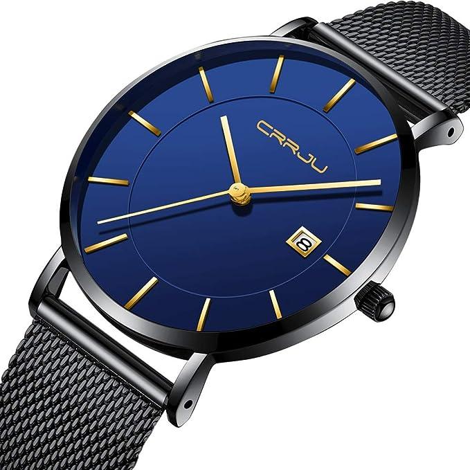 disfruta el precio más bajo Boutique en ligne más baratas CRRJU Relojes de Pulsera para Hombre de Acero Inoxidable ...
