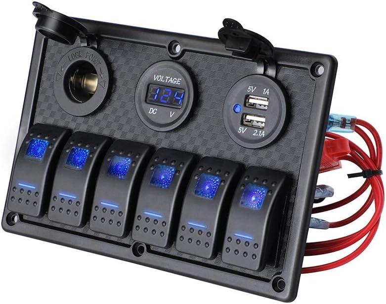 JOYHO 6 Gang Rocker Switch Panel Fuse Panel Waterproof, Digital Voltmeter Display, Dual USB Charger Port DC 12V Power Socket, 12/24V Breaker Switch for RV Marine Car Vehicles Truck Boat, Blue Light : Sports & Outdoors