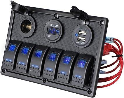 ISURE MARINE USA Boat Waterproof 12v//24v Rocker Switch Panel Blue LED
