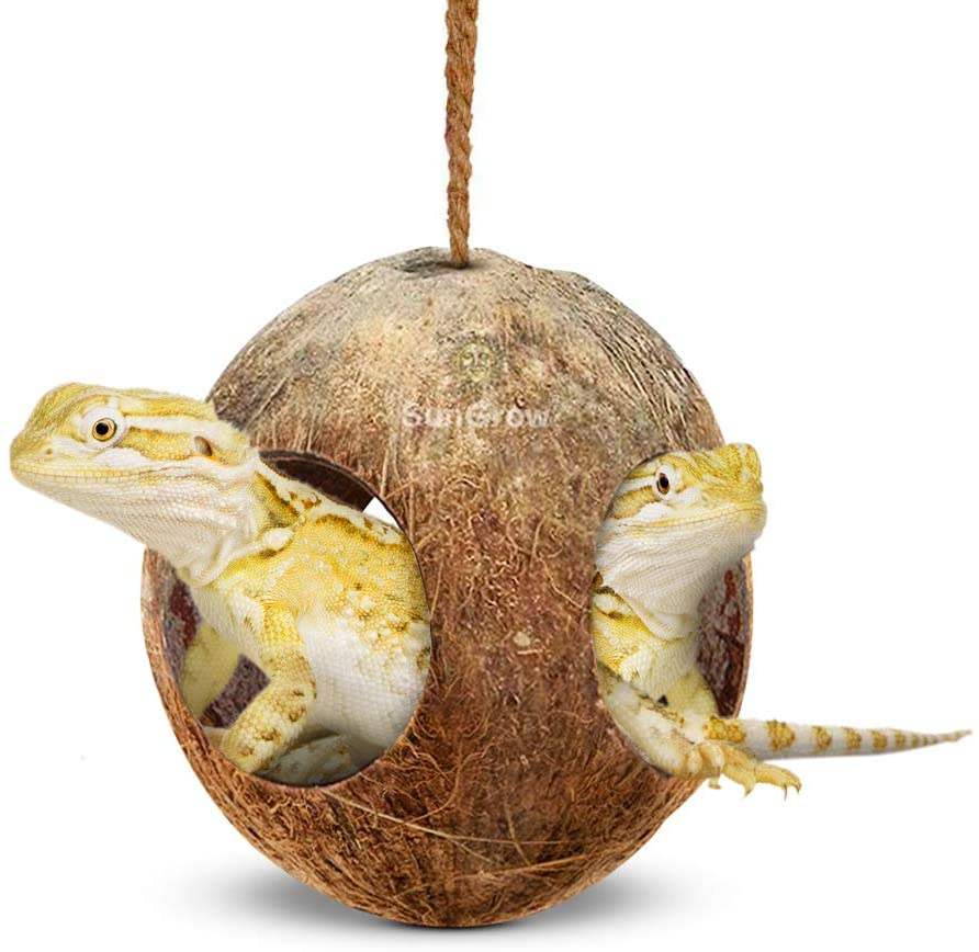 SunGrow Gecko 3-Hole Coco Den, Nesting Home Hide, Mini Condo for Lizards, Coconut Texture Provide Food for Pets, Raw Coconut Husk Hide - Durable Cave Habitat with Hanging Loop