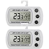 Pack de 2 Thermomètre Réfrigérateur Congélateur LCD Digital avec Crochet Plage de Mesures -20°C à +50°C (-4°F à +122°F) avec Grande Précision (± 1° C / ± 2° F) pour Maison Restaurant Bars Café