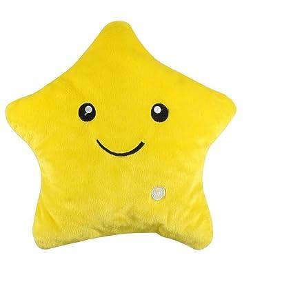 Starcafter Colorido LED Estrella la estrella de luz Almohada Cojín Relax Decoraciones Para El Hogar con Para Viajes,Acampar,Cojín Suave (Amarillo)