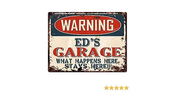 PPFG0373 WARNING ED/'S GARAGE Tin Chic Sign Home man cave Decor Funny Gift
