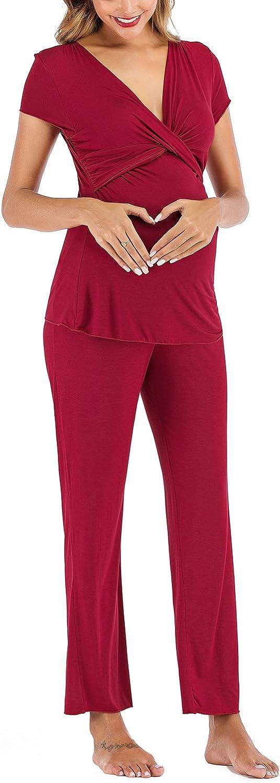 Lus Chic Womens Maternity Pajama Sets Nursing Comfy Pregnancy Pjs Short Sleeves Top And Pants 2