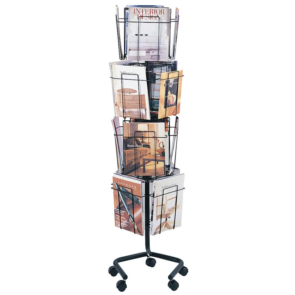 TableTop King 4139CH Charcoal 16 Compartment Rotary Wire Display Rack