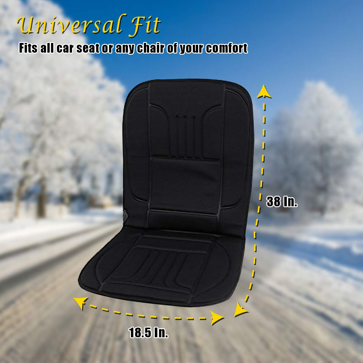VaygWay 12V Heated Car Seat Cushion-Car Auto Seat Heater Warmer Fireproof Anti-Flammable Extremely Safe 2Pk Vehicle Padded Fabric Cushion-Temperature Control Timer Adjustment