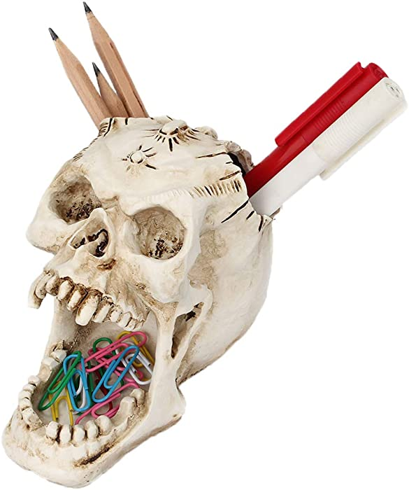 Foryo White Skull Pen Holder Office Desktop Ossuary Skulls Decor Halloween Decorations Skeleton Head Stationery Holder (White Skull)