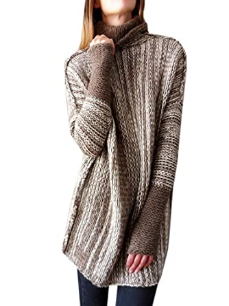 5b5557c186b890 Inorin Women Sweaters Oversized Pullover High Neck Long Knit Fall Winter Sweater  Jumper Tops at Amazon Women's Clothing store: