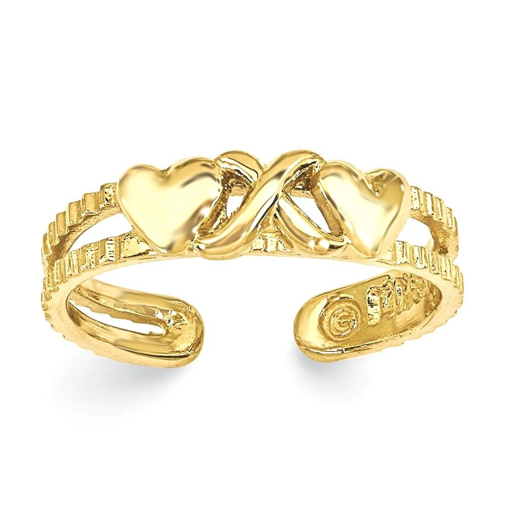 ICE CARATS 14k Yellow Gold Hearts X Adjustable Cute Toe Ring Set Fine Jewelry Gift Set For Women Heart