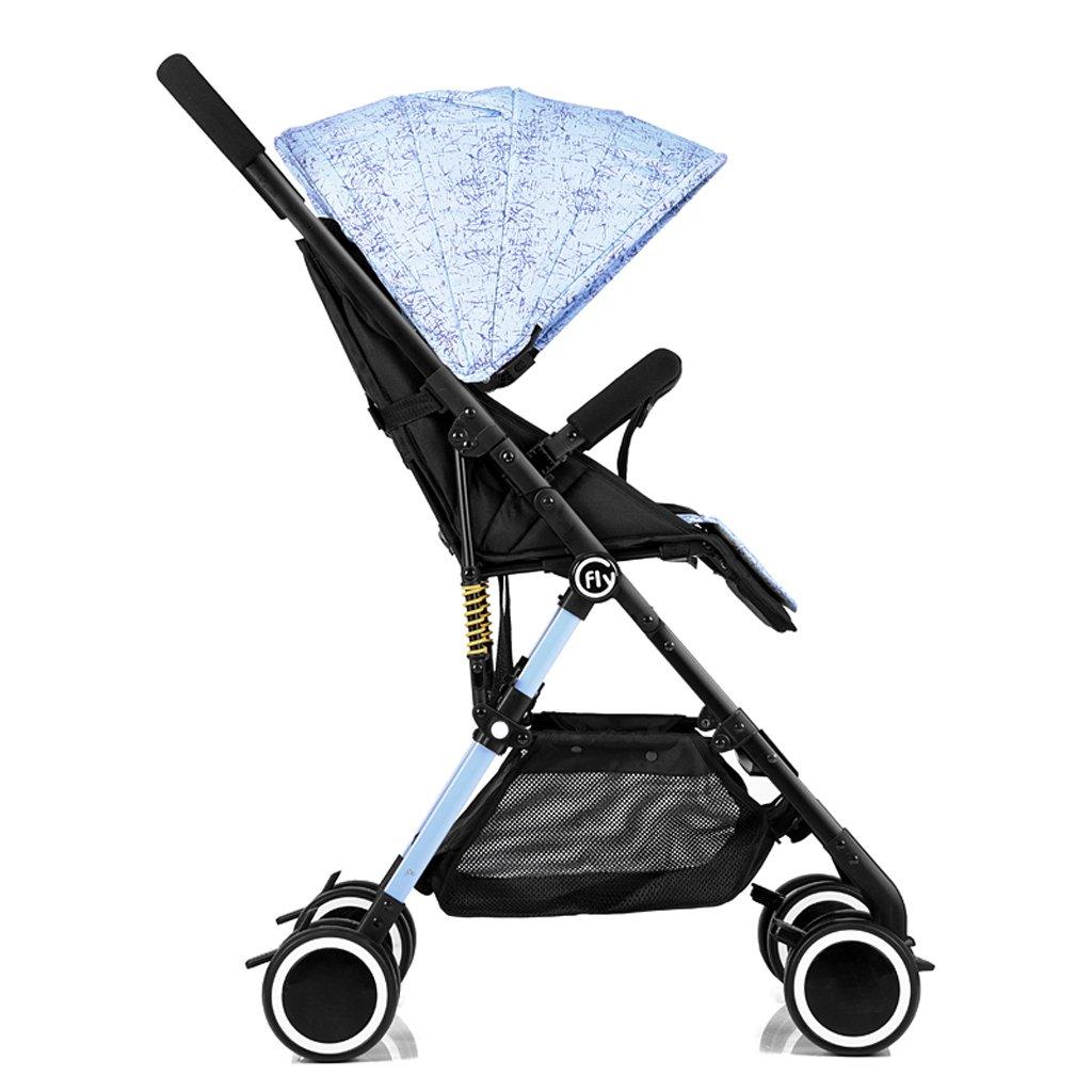 赤ちゃんベビーカー高風景超軽量ポータブルリクライニングベビー折りたたみカート、グリーン/ピンク/ブルー/ヒョウプリント、68 * 48 * 105センチメートル ( Color : Blue ) B07BWHB9TH