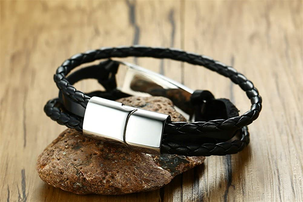 VNOX Free Engraving Handmade Braid Multi Layer Genuine Leather Identification Cuff Bracelet,8.3