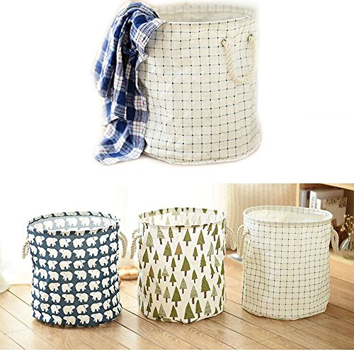 Efanr Cotton Linen Fabric Storage Basket Waterproof Foldable Cute Printing Open Large Laundry Storage Buckets Bags Bin with Handle for Kids Toy Home Bathroom Dirty Clothes (Lattice)