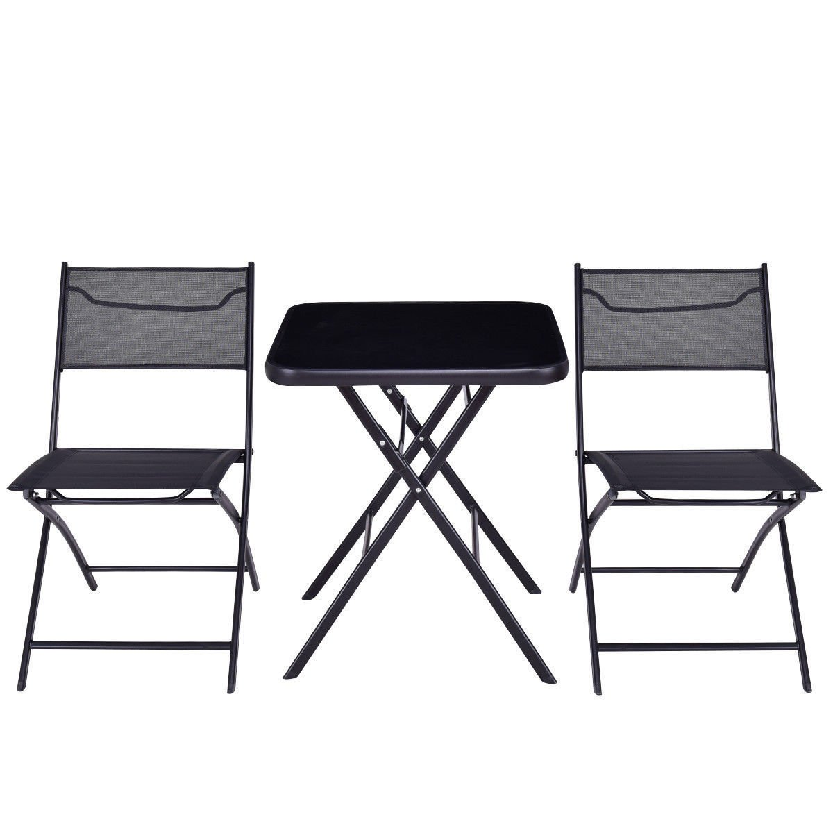 GHP Set of 3 Black Steel Textile Fiber & Tempered Glass Top Folding Table w 2-Pcs Chairs