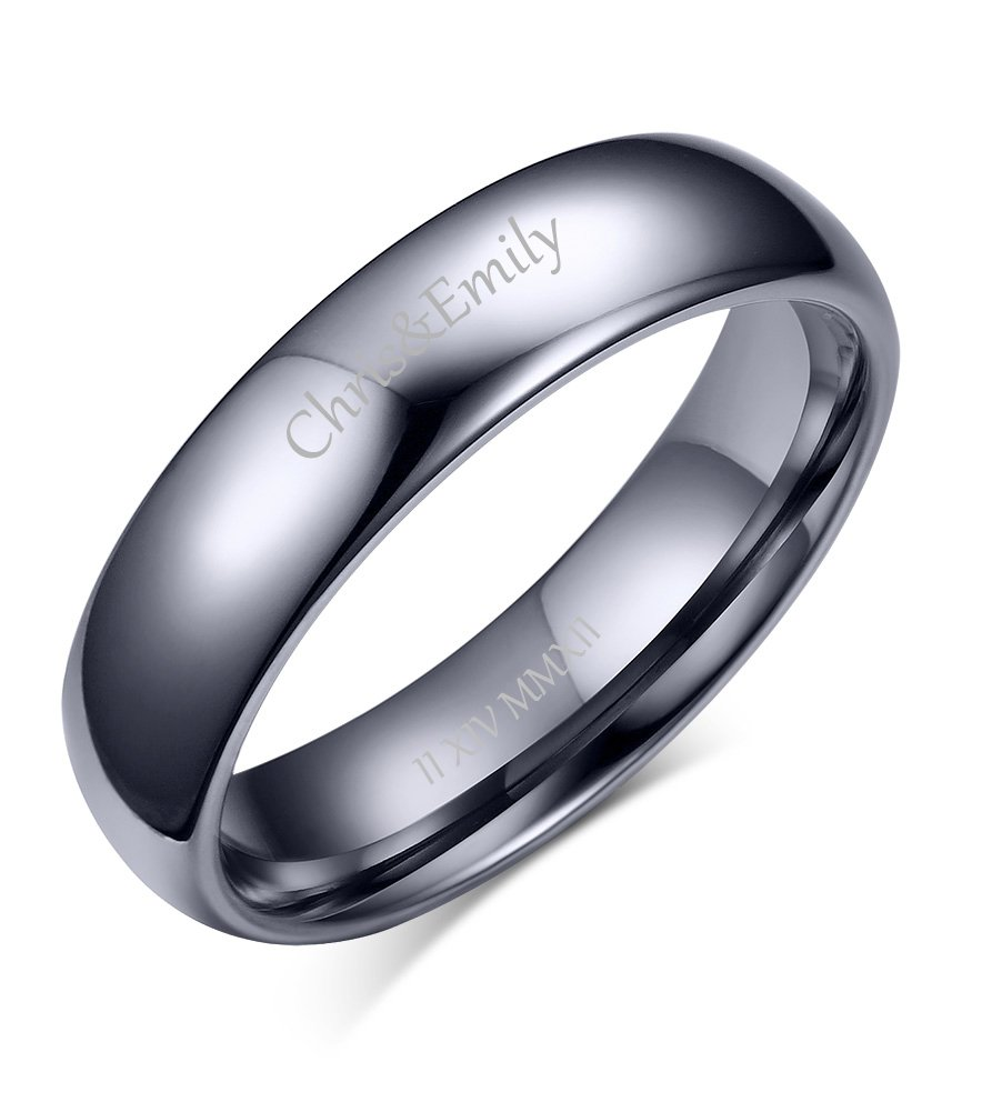 VNOX Custom Engraving Hers 4MM Tungsten Carbide Date Band Ring for Engagement Wedding,Size 6