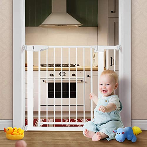 RONBEI Auto Close Safety Baby Gate for Stairways and Doorways, 29.53 – 38 Indoor Infant Gates for Kids Dogs, Easy Walk Thru Metal Child Gate with 5.5 Extension,4 Mounting Kit, 1 Wrench Tool