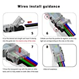 10 Pack 4 Pin LED Connector for Waterproof 10mm RGB 5050 LED Strip Lights, Strip to Wire Quick Connection Without Stripping, Include UL Listed 16.4ft 22 Gauge 4 Conductor Extension Cable