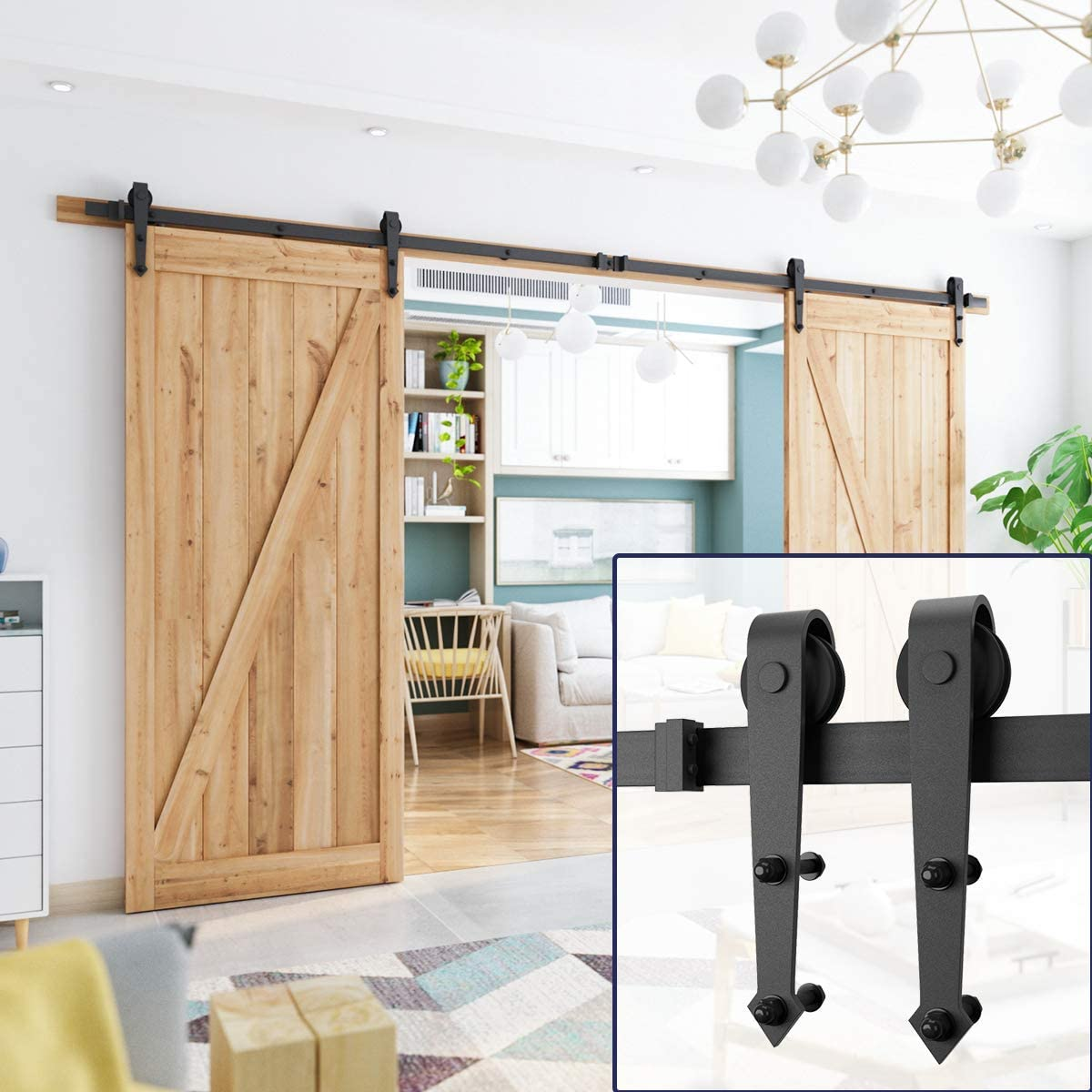 SMARTSTANDARD 6.6ft Heavy Duty Sturdy Sliding Barn Door Hardware Kit Smoothly /& Quietly-Easy to install-Includes Step-By-Step Installation Instruction Fit 40 Wide Door Panel Bigwheel T Shape Hanger