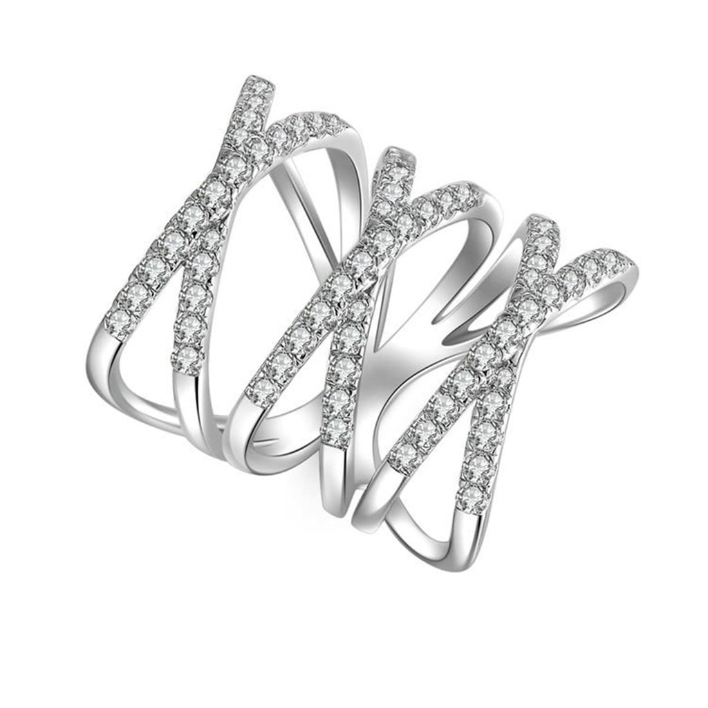 AmDxD Jewelry Silver Plated Women Promise Customizable Rings Crossover Hollow CZ Size 9