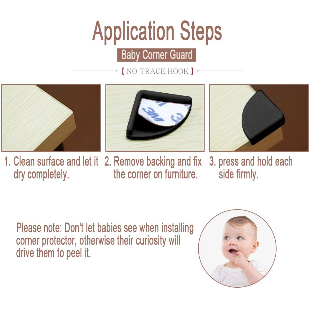 Corner Edge Guard, TUPSKY Self Adhesive Baby Proof Corner Protector Stop Child Head Injuries for Tables, Furniture & Sharp Corners Kids Safety (Brown, 8 Pack)