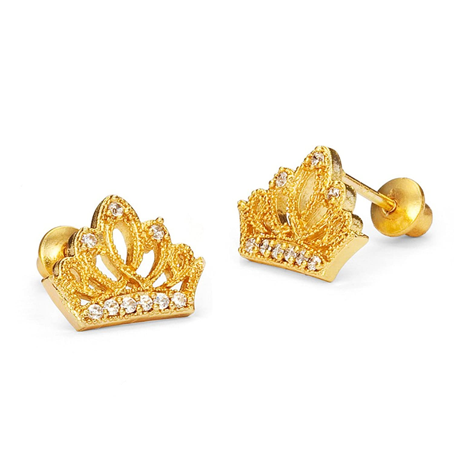 Amazon.com: 14k Gold Plated Brass Princess Crown Cubic Zirconia ...