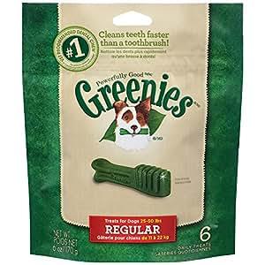 GREENIES Dental Dog Treats, Regular, Original Flavor, 6 Treats, 6 oz.
