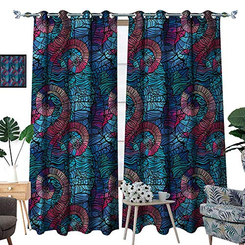 - RenteriaDecor Ombre Patterned Drape for Glass Door Mosaic Shaped Shell Like Swirls Ocean Deep Sea Inspired Art Image Waterproof Window Curtain W72 x L96 Light Blue and Lilac Pink